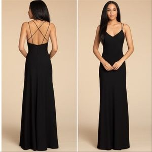 Hayley Paige Occassions Crepe Sheath Gown open bac